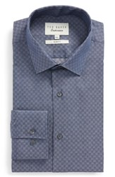 Ted Baker London Wests Slim Fit Check Dress Shirt Navy