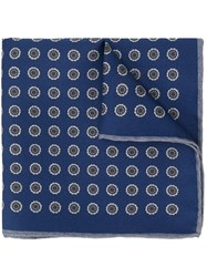 Canali Floral Dots Pocket Square Blue