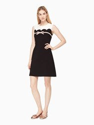 Kate Spade Scallop Bow A Line Dress French Cream Black
