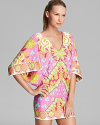 Trina Turk Woodblock Floral Swim Cover Up Tunic Pinkberry