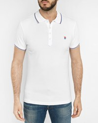 Diesel White T Skin Polo Shirt With Two Tone Red Blue Collar Trim