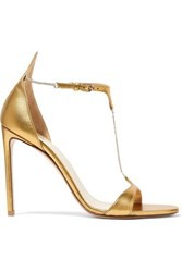Francesco Russo Chain Embellished Metallic Leather Sandals Gold