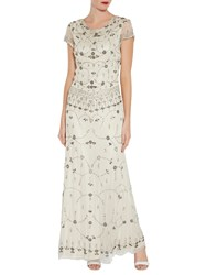 Gina Bacconi Vintage Beaded Maxi Dress Oyster