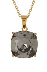 Candela 14K Gold Plated Silver Nite Swarovski Crystal Pendant Necklace Gray