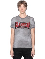 Dsquared Glam Head Distressed Cotton T Shirt