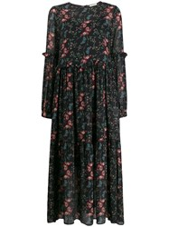 Semicouture Long Floral Panelled Dress Black