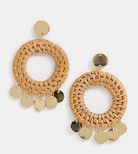 Orelia Gold Plated Raffia Woven Coin Statement Earring