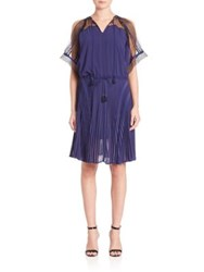 Ohne Titel Cold Shoulder Pleated Dress Navy