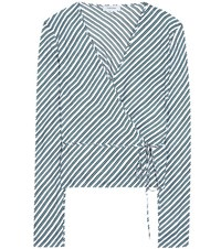 Carven Striped Silk Blouse Blue