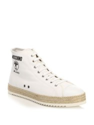 Moschino High Top Leather Sneaker White