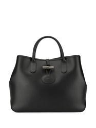 Longchamp Logo Embossed Tote Bag Black