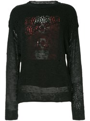 Hysteric Glamour The Skull Distressed Sweater Black