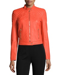 Versace Long Sleeve Quilted Leather Jacket Orange