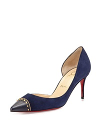 Christian Louboutin Culturella Suede Spiked Half D'orsay Red Sole Pump Nuit