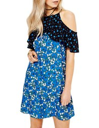Miss Selfridge Contrast Cold Shoulder Dress Multi