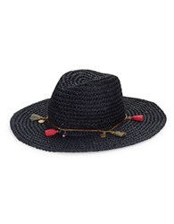 Echo Tassel Accented Woven Paper Hat Navy Blue