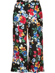 Piamita 'Harley' Floral Print Cropped Trousers Black