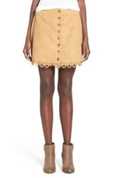 Fire Laser Cut Faux Suede A Line Skirt Brown