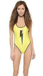 Wildfox Couture Bolt 80S Zipper Swimsuit Sun Shower