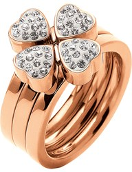 Folli Follie Heart4heart Sweetheart Multiwear Rose Gold Plated Crystal Ring