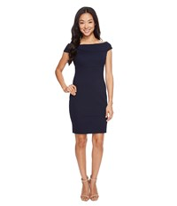 Adrianna Papell Petite Off Shoulder Color Block Fitted Dress Blue Moon Women's Dress Navy