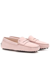 Tod's Gommini Suede Loafers Pink