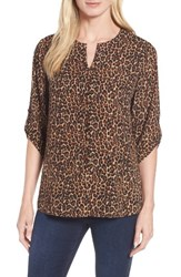 Chaus Women's Leopard Print Roll Tab Blouse