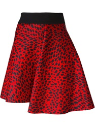 Fausto Puglisi Leopard Print Full Skirt Red