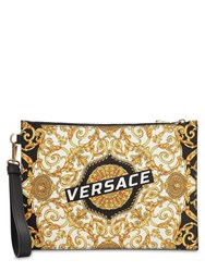 Versace Printed Leather Clutch Multicolor