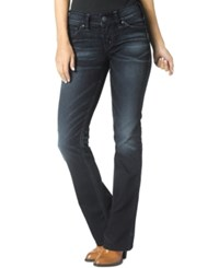 Silver Jeans Suki Embellished Bootcut Dark Blue Wash Jeans