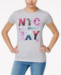 Roxy Juniors' Nyc World Graphic T Shirt Heather Grey