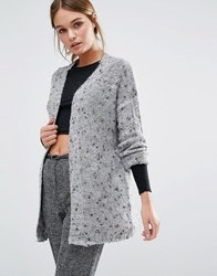 Y.A.S Feline Textured Knitted Cardigan Grey