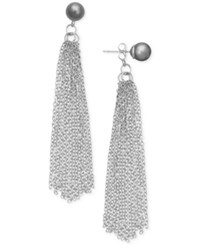 Inc International Concepts Robert Rose For Imitation Pearl Tassel Drop Earrings Only At Macy's Silver