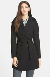Trina Turk Women's 'Shelly Ali' Hooded Wool Gabardine Wrap Coat