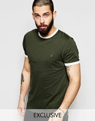 Farah T Shirt With Contrast Trim Slim Fit Exclusive Green