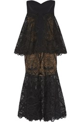 Jonathan Simkhai Tiered Lace Midi Dress Black