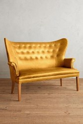 Anthropologie Premium Leather Wingback Bench Lager