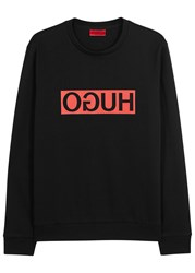 Hugo Dicago Printed Cotton Sweatshirt Black And Red