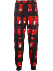 Alexander Mcqueen Paint Effect Checked Track Pants Black