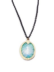 Armenta Old World Malachite Rainbow Moonstone Diamond 18K Yellow Gold And Sterling Silver Pendant Necklace