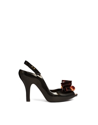 Vivienne Westwood For Melissa Tortoise Shell Bow Heeled Shoes Black
