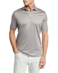 Ermenegildo Zegna Mercerized Cotton Polo Shirt Light Gray Lt Gry Sld