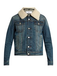 Ami Alexandre Mattiussi Shearling Collar Denim Jacket Blue