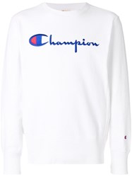 Champion Logo Embroidered Sweatshirt White