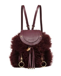 See By Chloe Olga Shearling Leather Backpack Obscure Purple