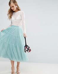 Asos Tiered Tulle Prom Skirt With High Waisted Detail Blue