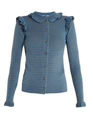 Sonia Rykiel Striped Ribbed Cotton Blend Cardigan Blue Stripe