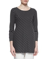 Caroline Rose Bias Striped Knit Tunic Black White