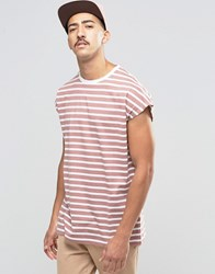 Asos Oversized Sleeveless T Shirt With Stripe In Pink White Burlewood