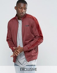 Puma Track Jacket With Velvet Trim In Red Exclusive To Asos Red
